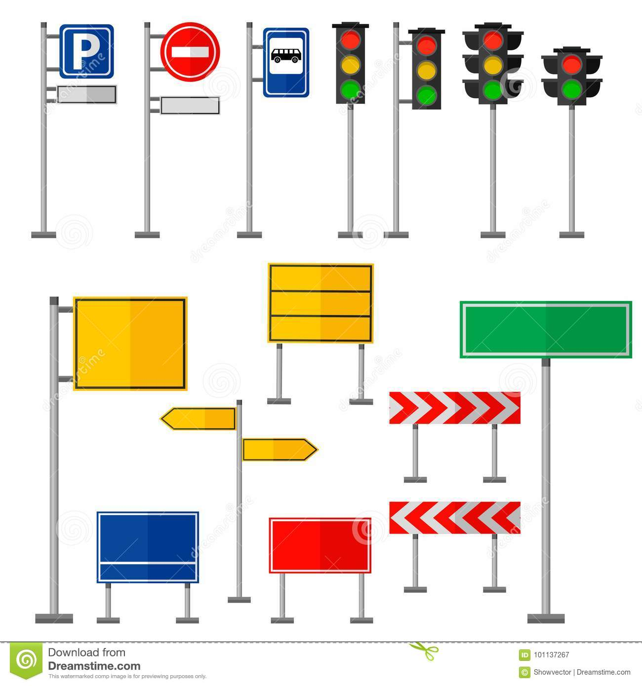 Road Symbols Traffic Signs Graphic Elements Isolated City