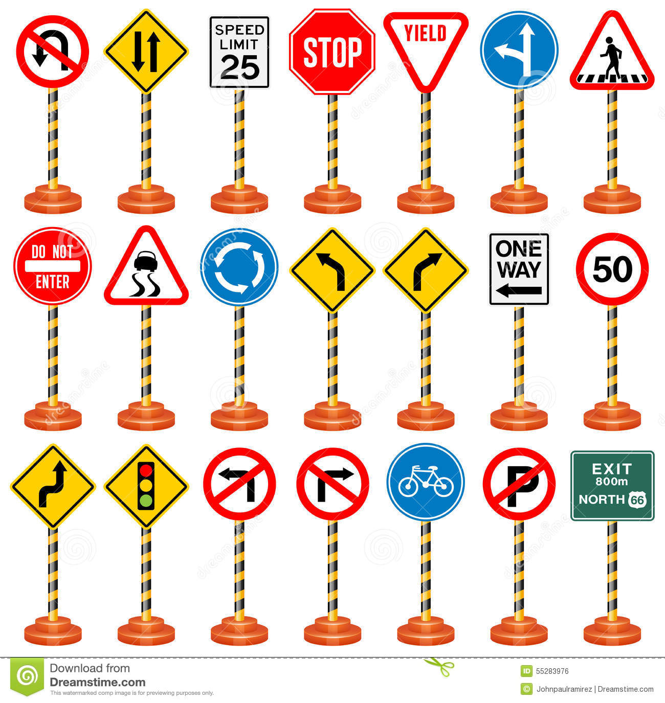 road signs traffic signs transportation safety travel stock