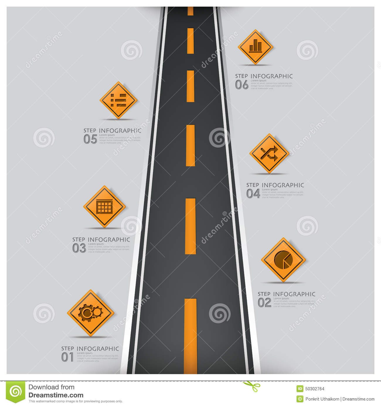 Road And Street Traffic Sign Business Infographic Stock Vector