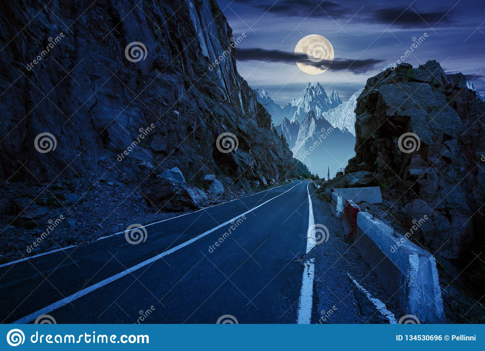 Road in to the high mountains at night