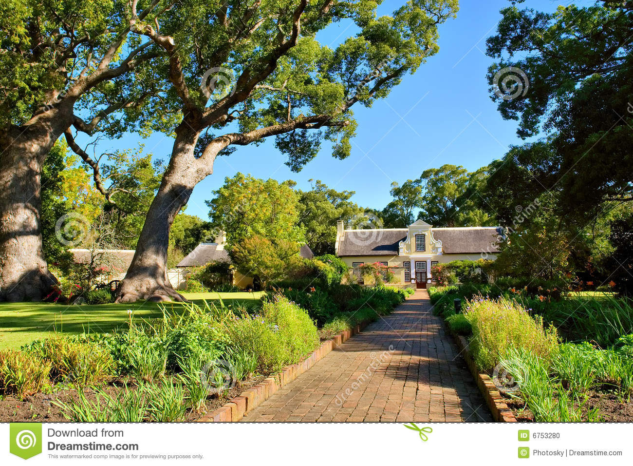 Road To Historical House Through Park Stock Photo Image