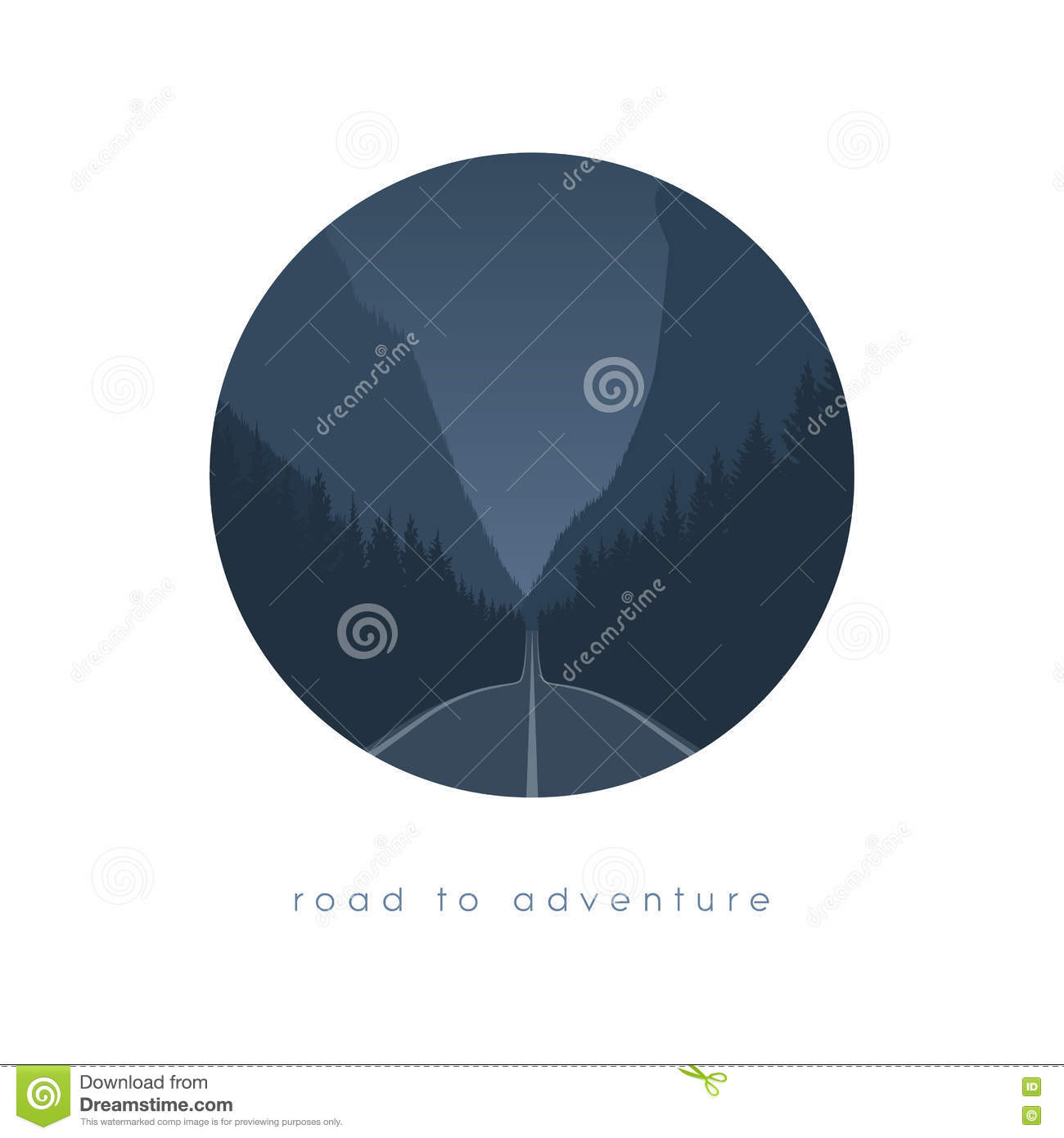 Road to nowhere concept with freeway in forest and canyon or valley. Nature travelling. Escape, new beginning adventure