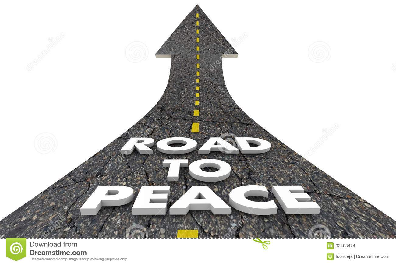 Road To Peace End War Fighting Words Stock Illustration