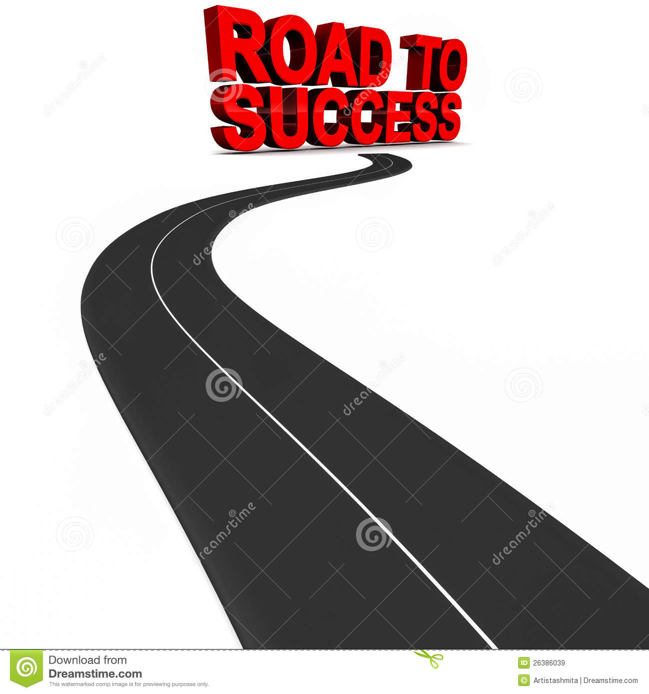 Road leading to success as a 3d render, success and winning concept ...