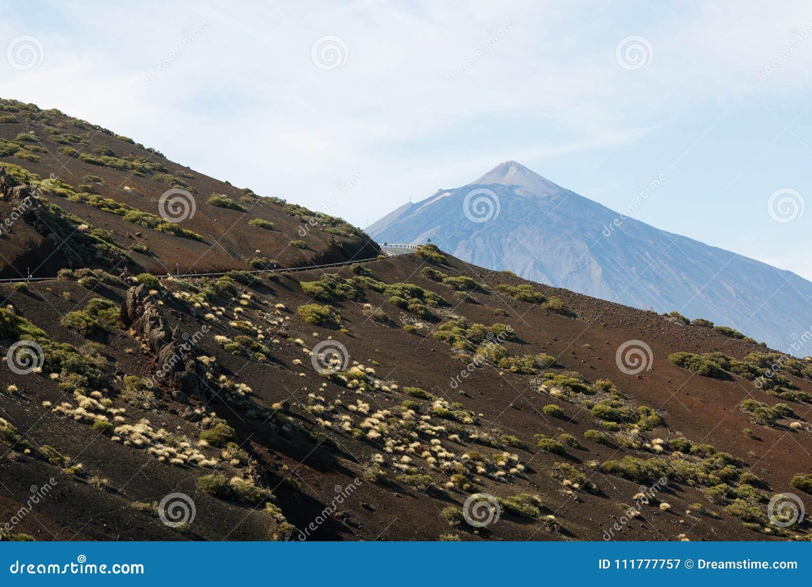 Road to volcano El Teide in Teide National Park