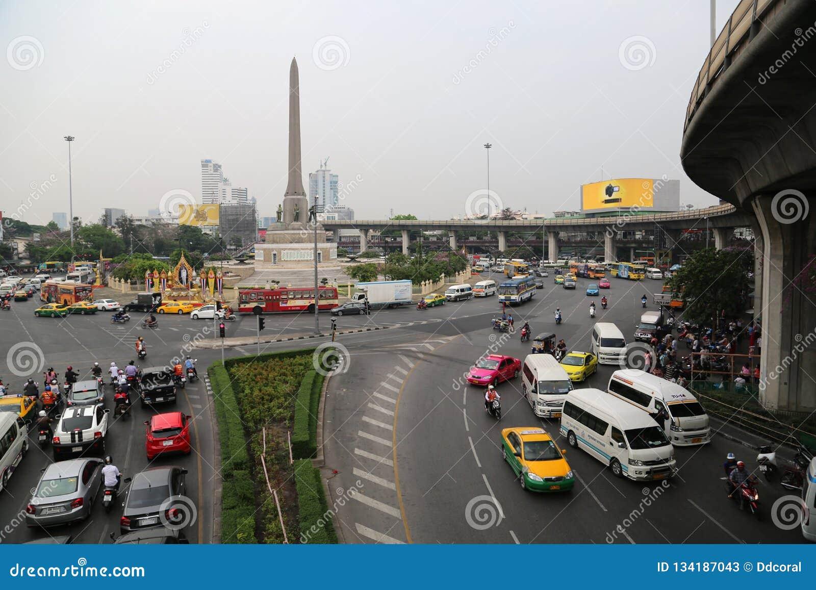 748e024a71 Road Traffic Near Victory Monument In Bangkok