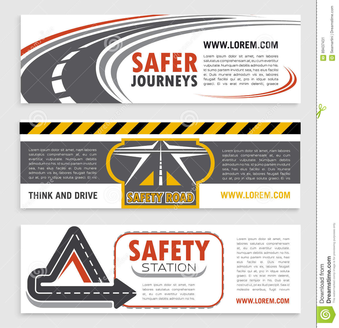 Road and traffic safety banner template set stock vector