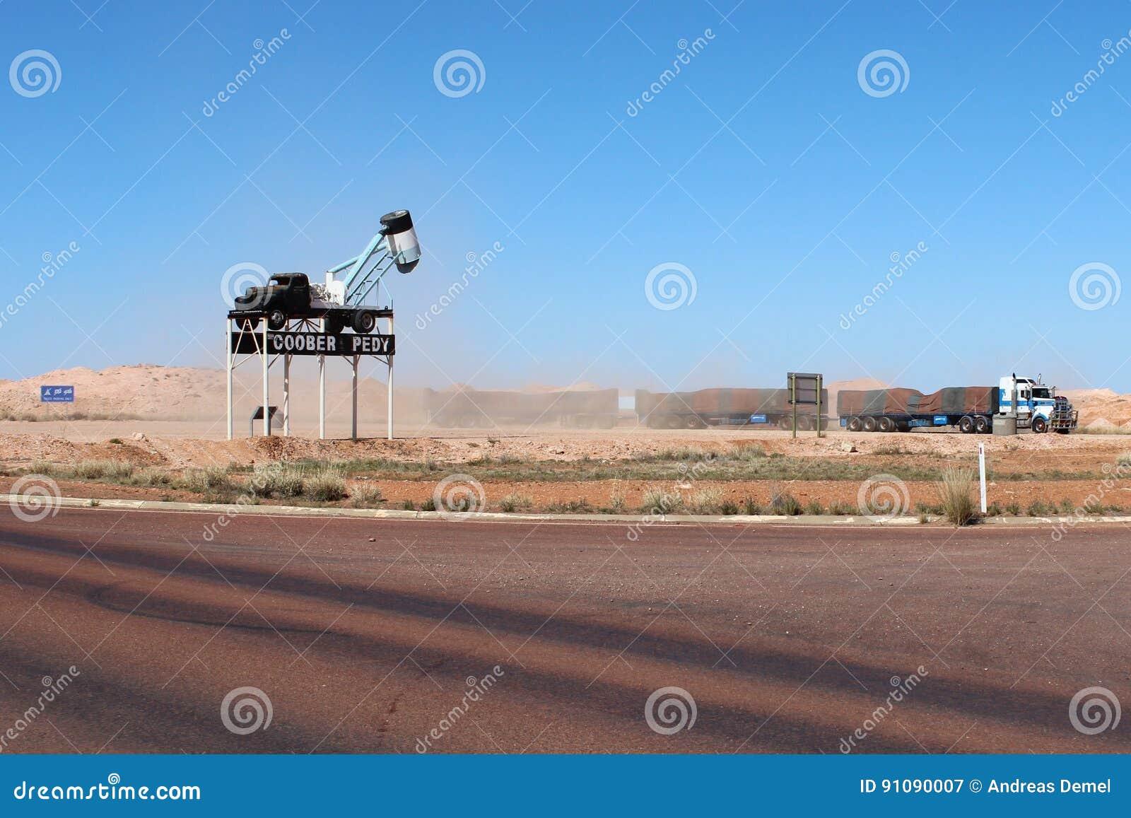 A road train in a rest area in Coober Pedy, South Australia