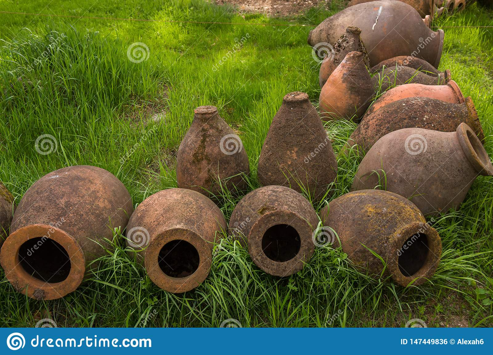 Ancient clay wine jugs