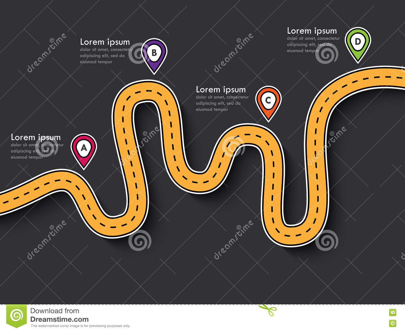 Road Trip And Journey Route Infographic Template With Pin Pointer ...