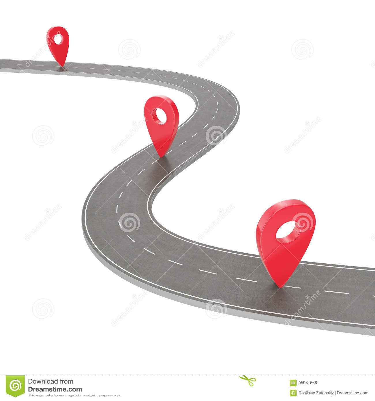 Road trip and Journey route. Winding Road on a white background with Pin Pointer. Road way location infographic template