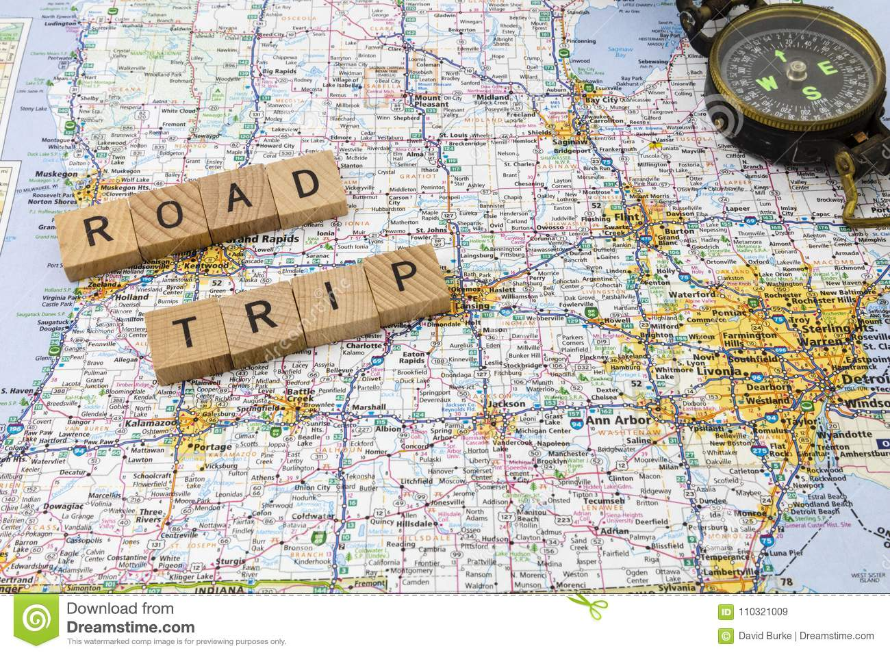 Picture of: Road Trip Letters Compass Message Stock Image Image Of Trip Direction 110321009