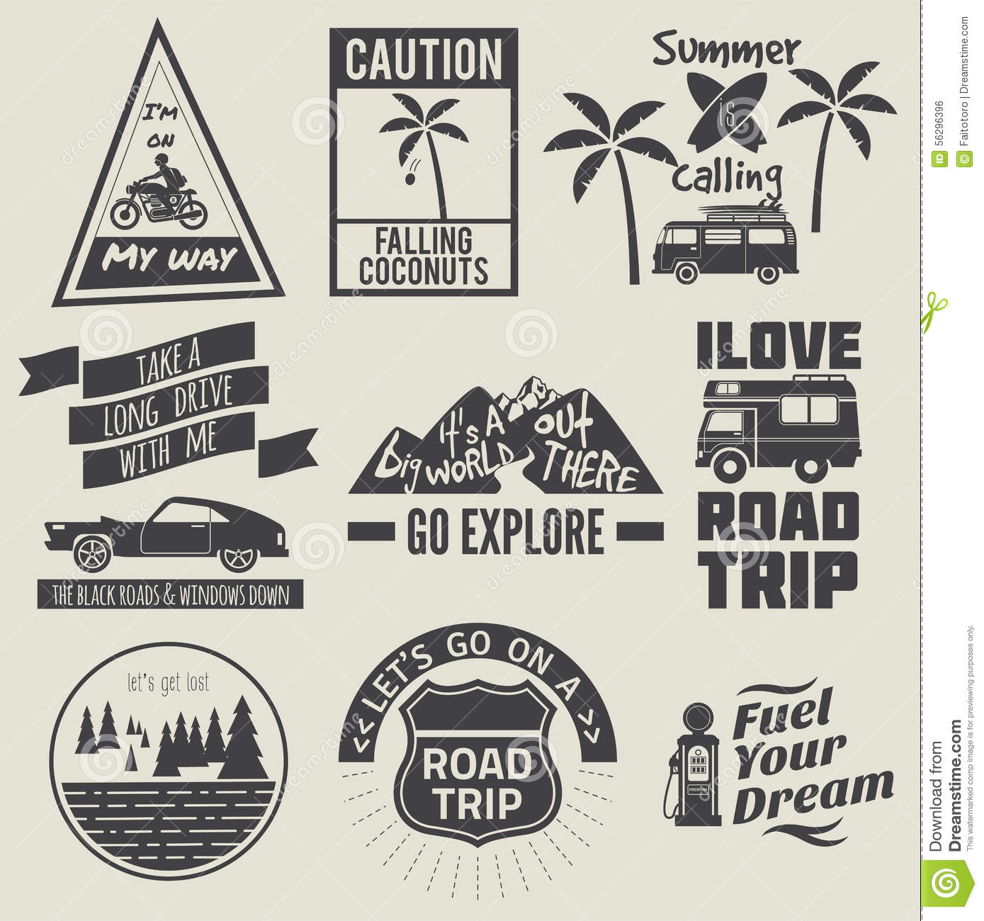 Road Trip Quote Collection Black And White Stock Vector ...
