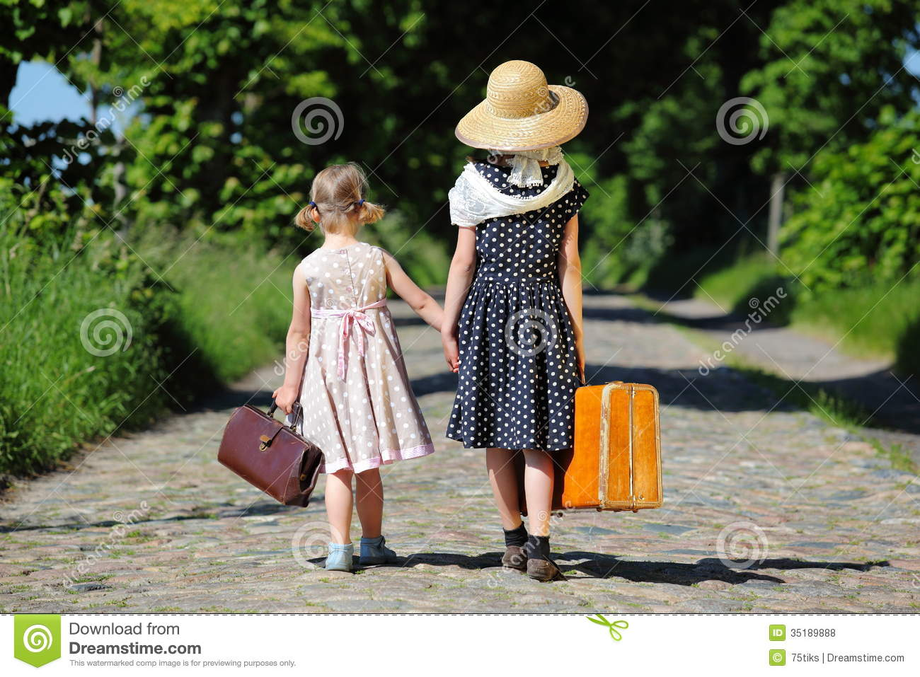 Road Two Little Girls Walking Her Luggage Tree Lined Seen Back on Polka Steps