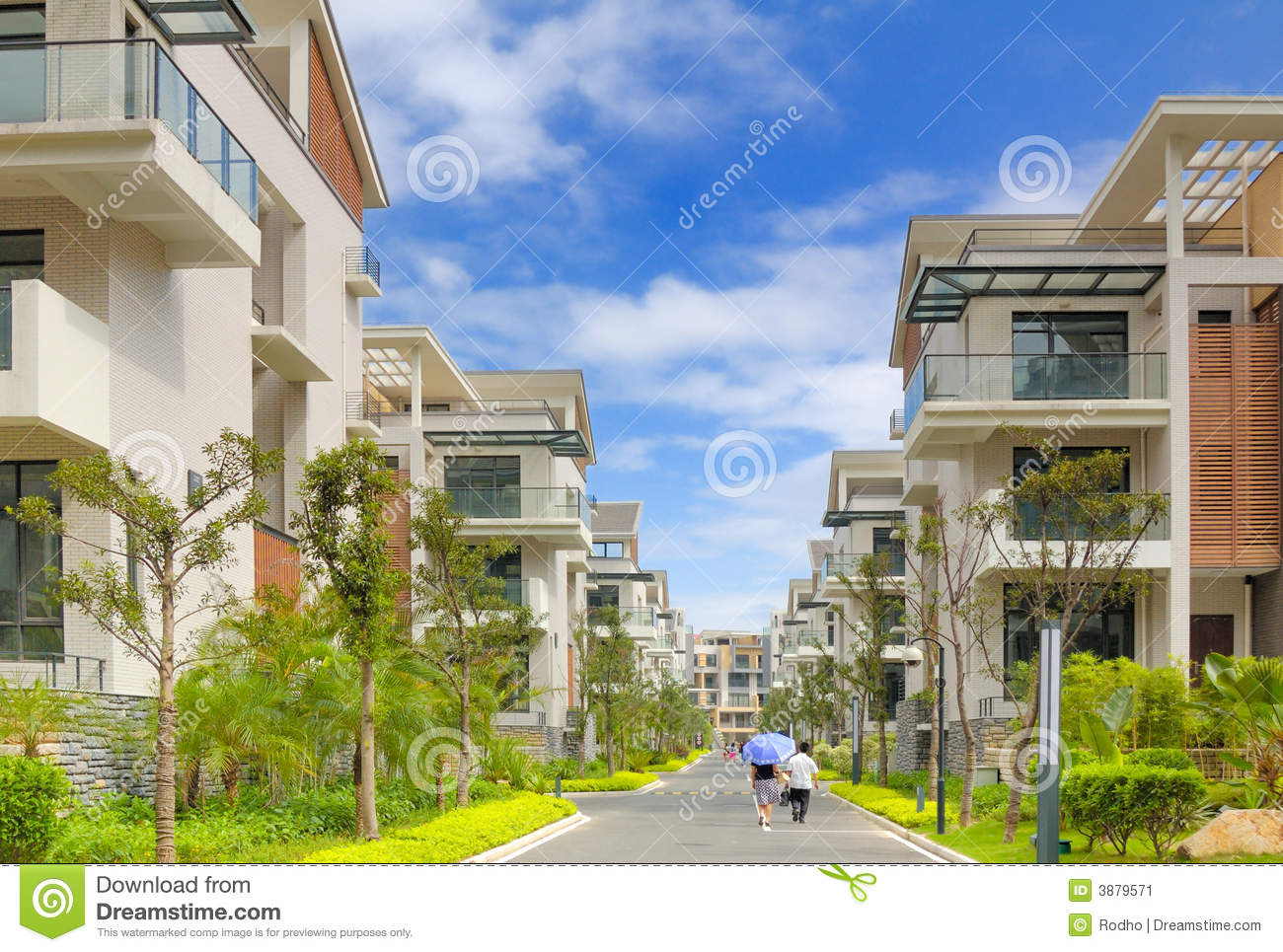 Road and two rows of new terrace houses stock image for New terrace house