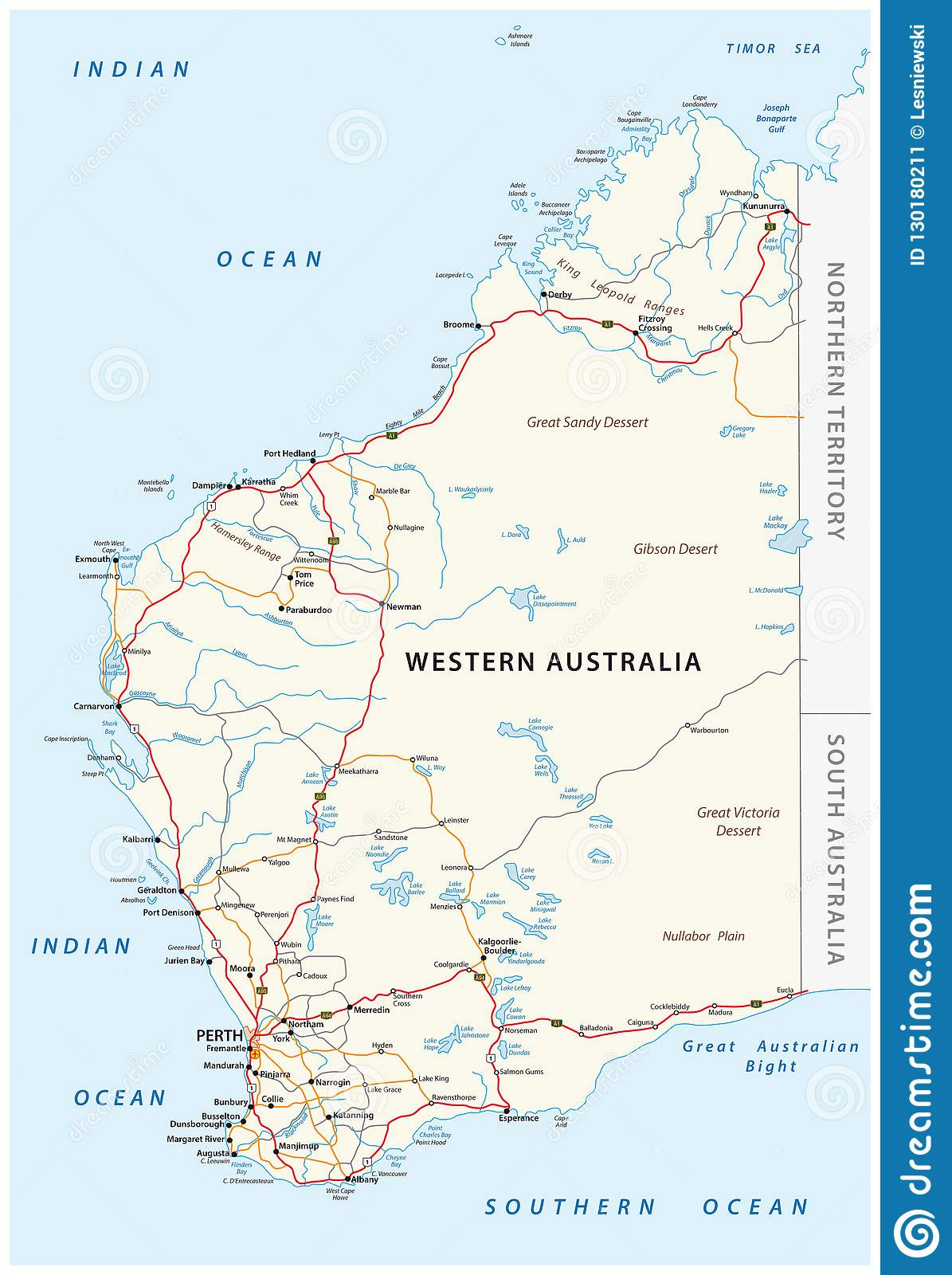 Road Map Of Australia.Road Vector Map Of The Western Australian State Stock Vector