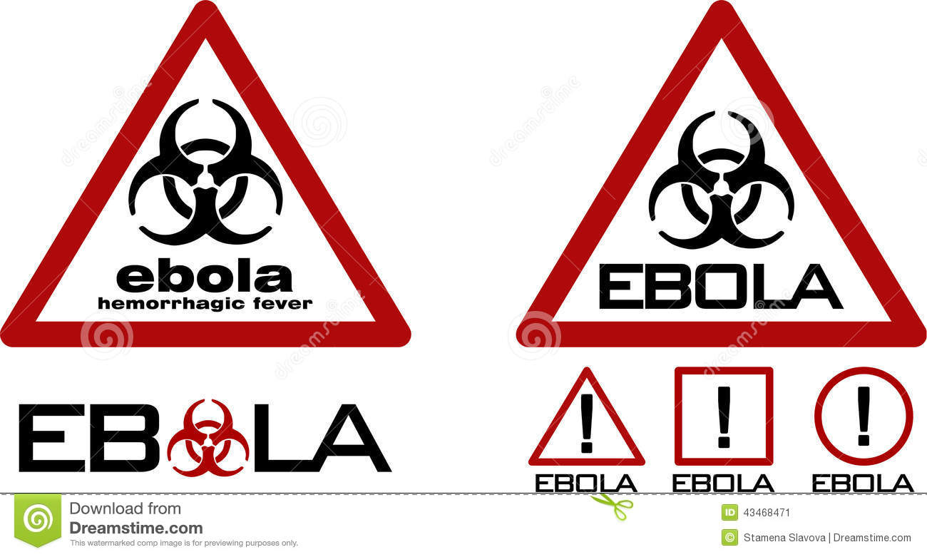 of two road warning signs with biohazard symbol and ebola textWarning Signs And Symbols Black And White