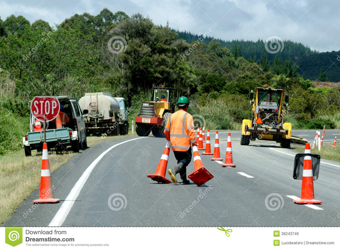 road work editorial stock image