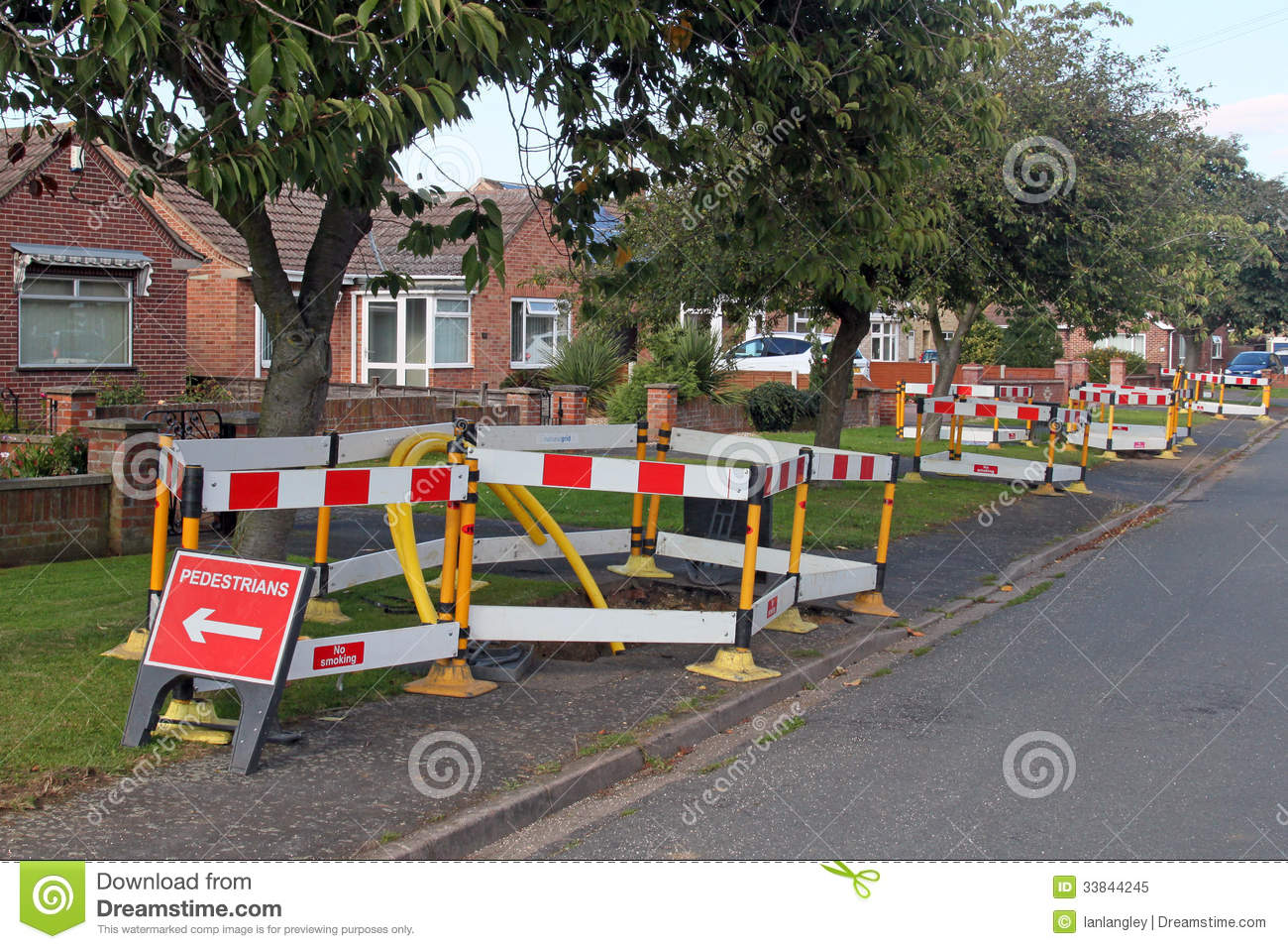 road work warning signs and barriers royalty free stock