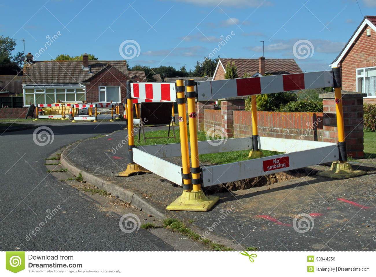 Road Work Warning Signs And Barriers. Royalty Free Stock ...
