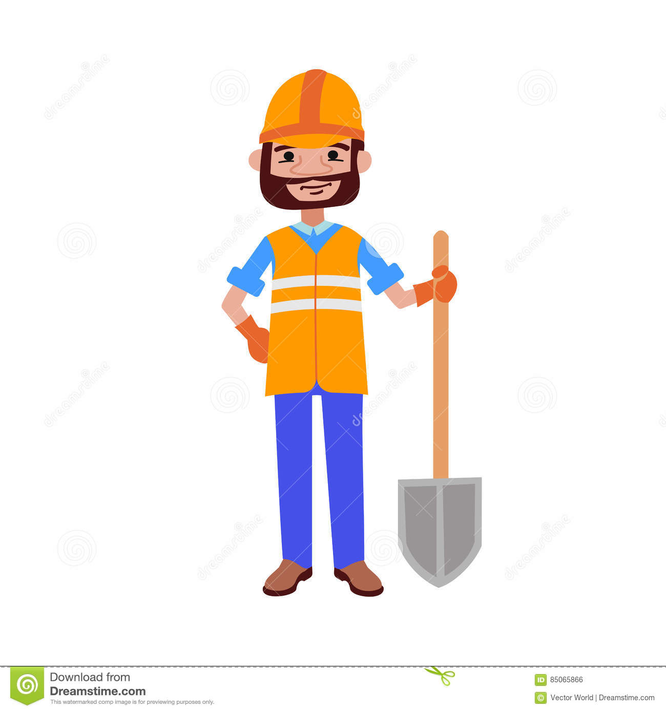 road worker builder with shovel vector illustration stock vector