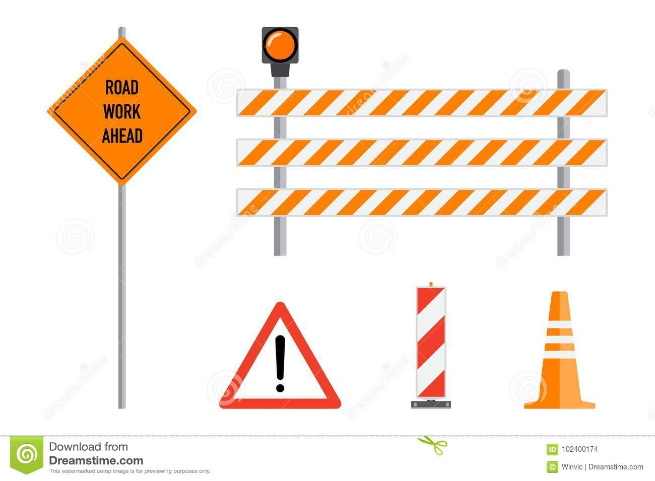 Road Works Signs Set, Flat Vector Illustration  Work Road Ahead