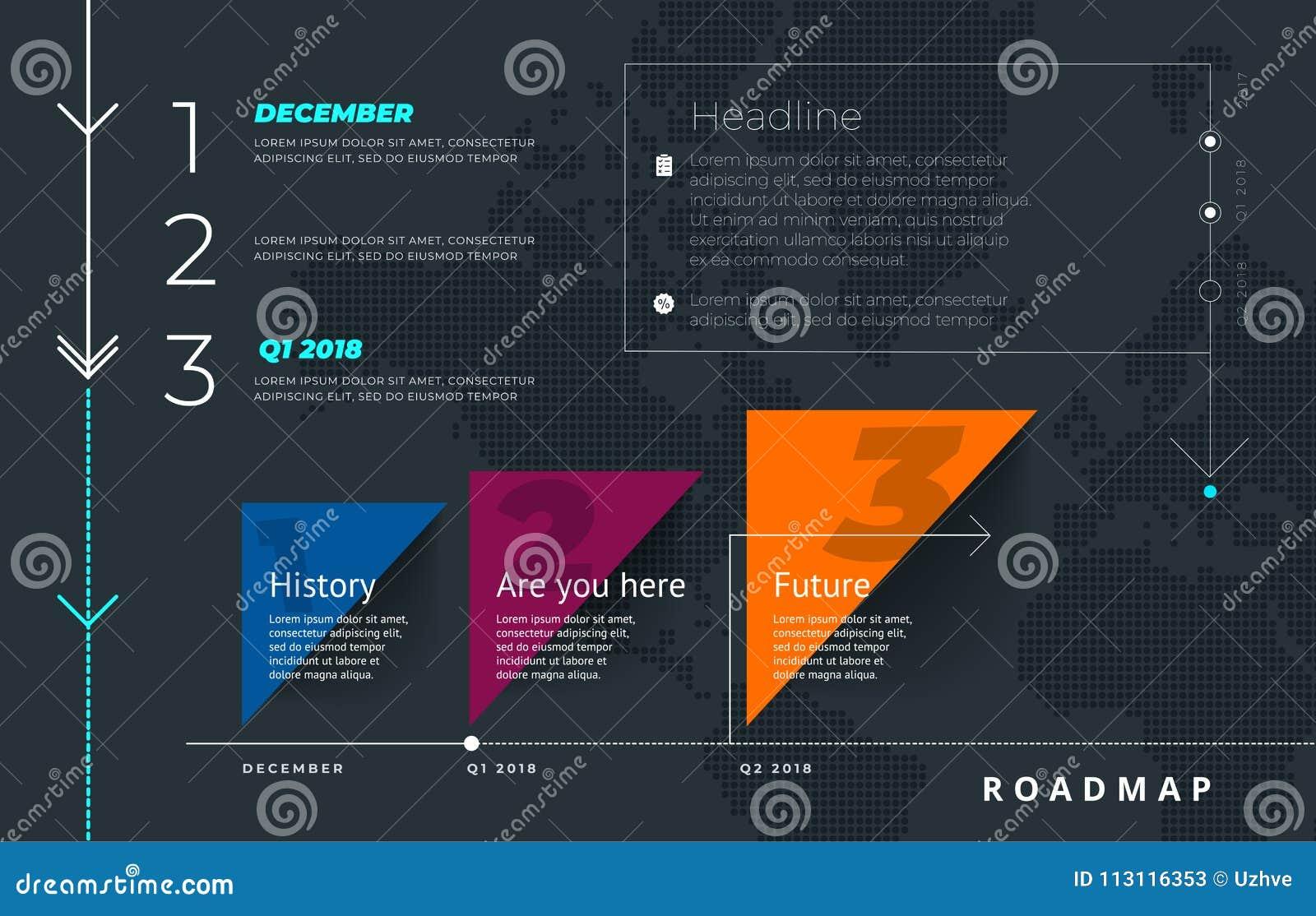 Roadmap Set. Lines, Arrows, Timeline. For Registration Of Sites, A ...