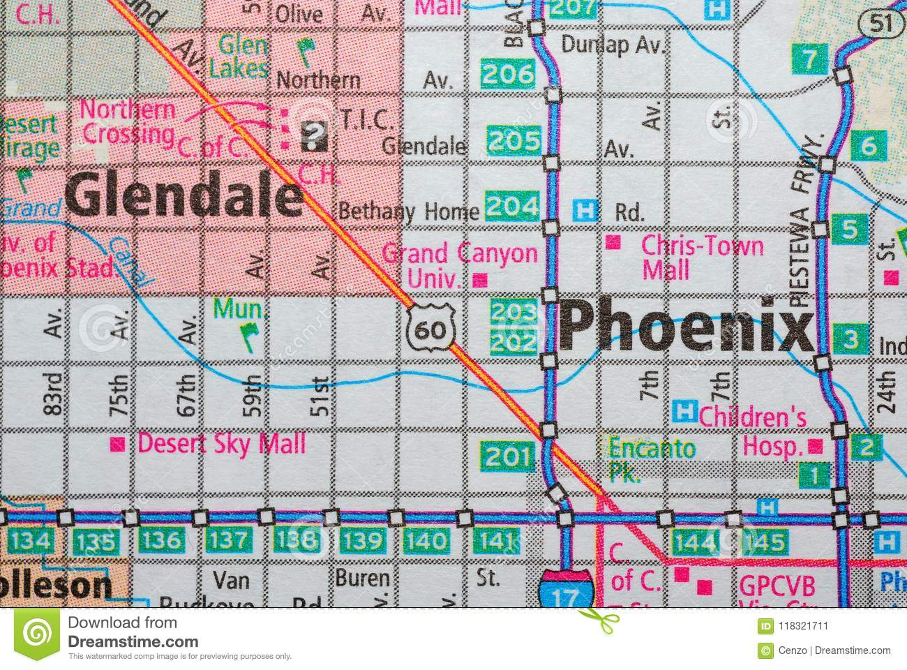 Roads On The Map Around The City Of Phoenix, USA, June 2018 ... on