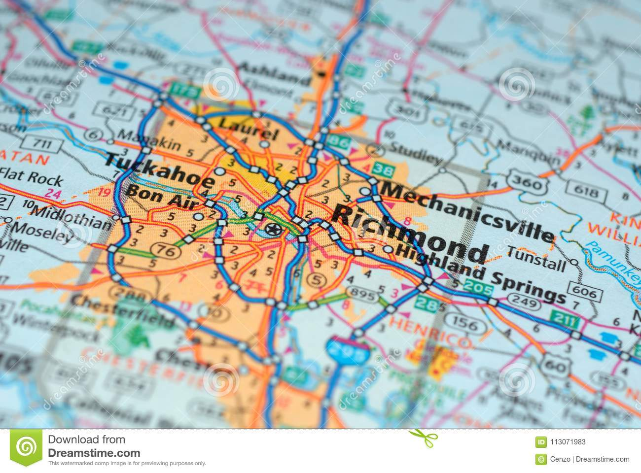 Roads On The Map Around Richmond City Usa March 2018 Stock Image - Richmond-virginia-on-us-map