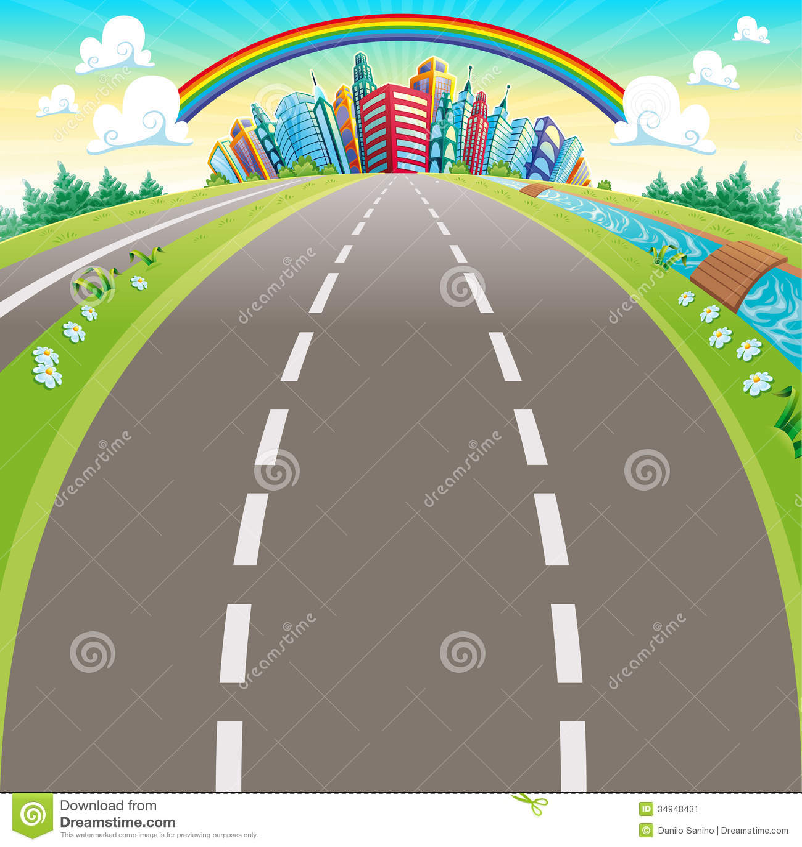 roads to the city stock vector illustration of town 34948431 rh dreamstime com cartoon roadsters cartoon roadkill