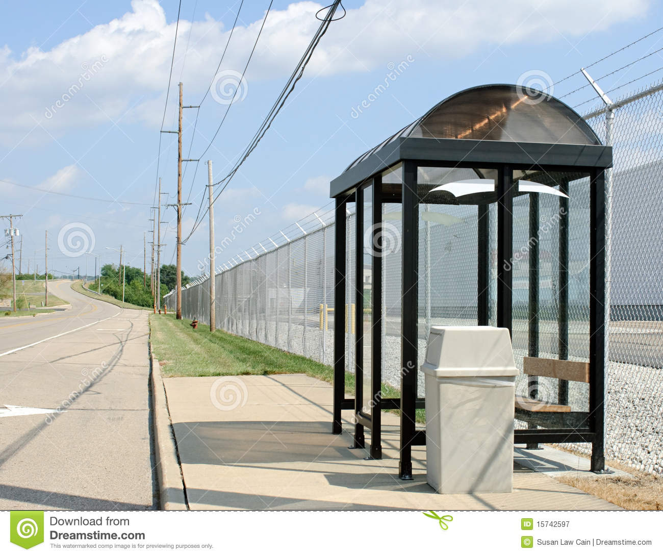 Roadside Bus Stop Royalty Free Stock Photography Image
