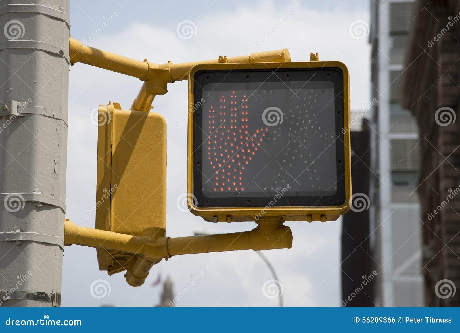 Roadside safety do not cross  red hand  light