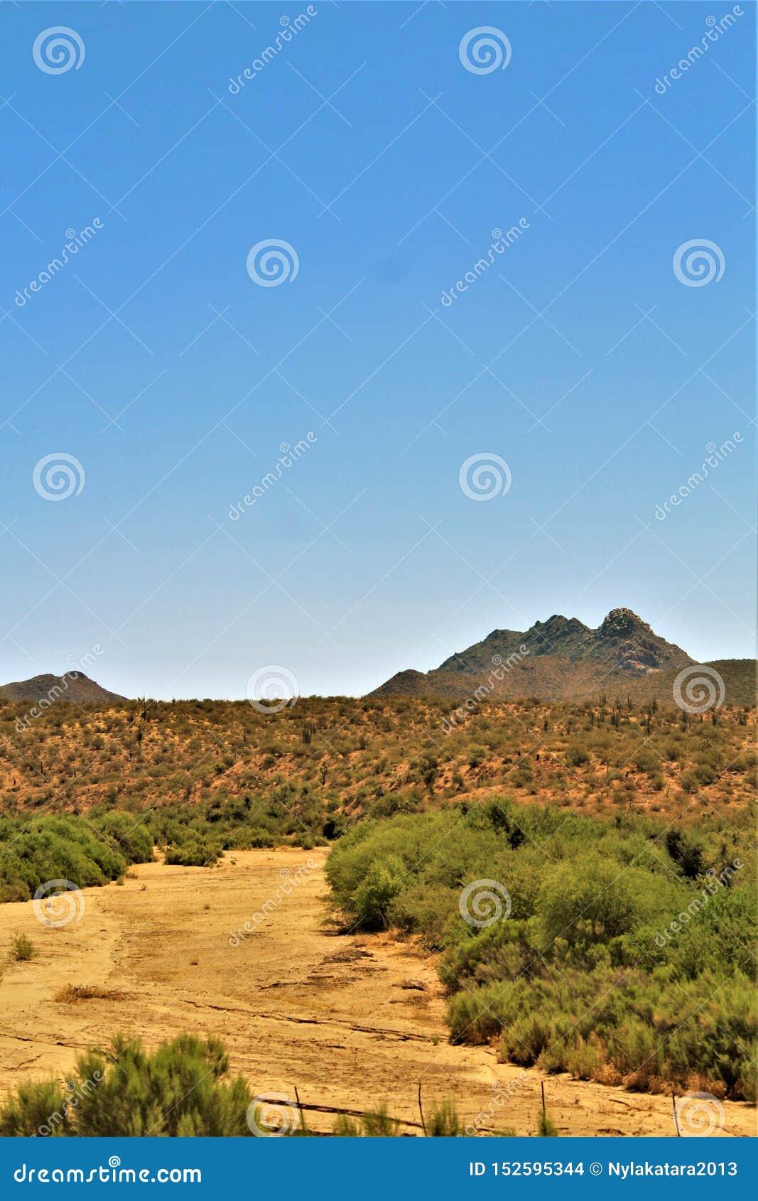 Scenic landscape view Phoenix to Las Vegas, Arizona, United States