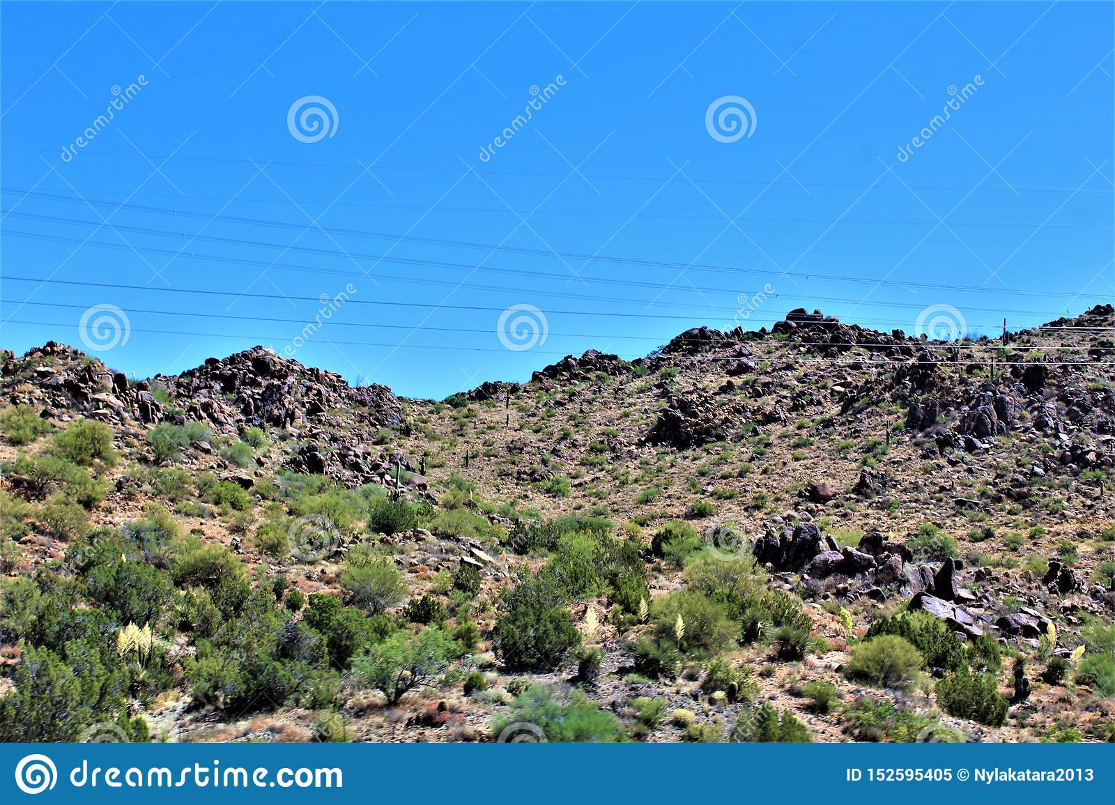 Scenic landscape view Phoenix to Las Vegas, Arizona, United States