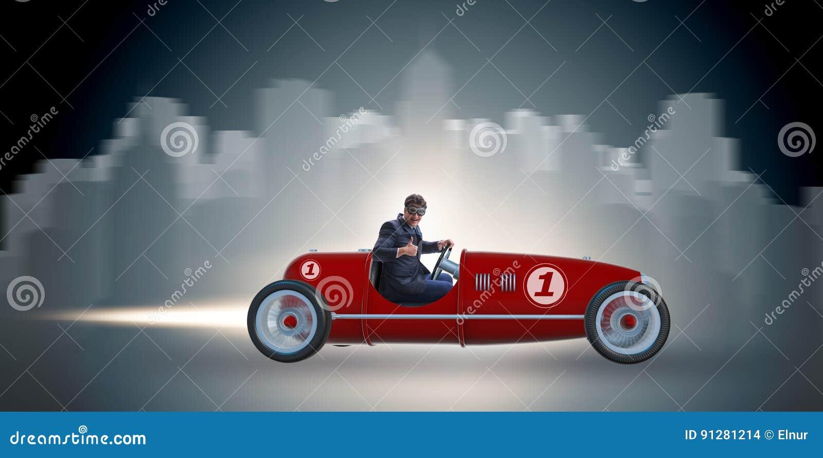 Roadster för affärsmanridningtappning i motivationbegrepp