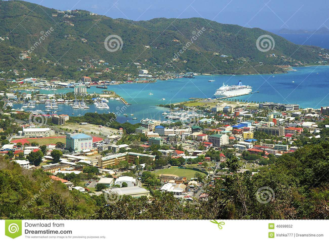 Roadtown In Tortola With A Cruise Ship In Port Editorial