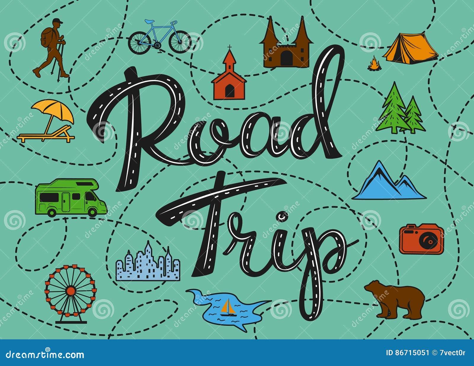 Aandachtspunten roadtripaffiche met een gestileerde kaart met