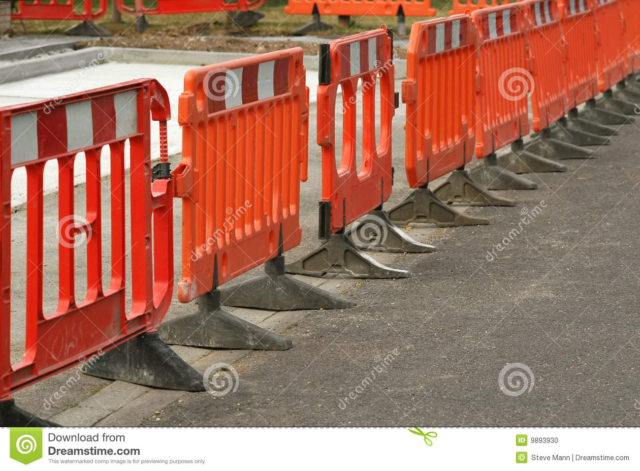 Roadwork barriers stock photo  Image of traffic, road - 9893930