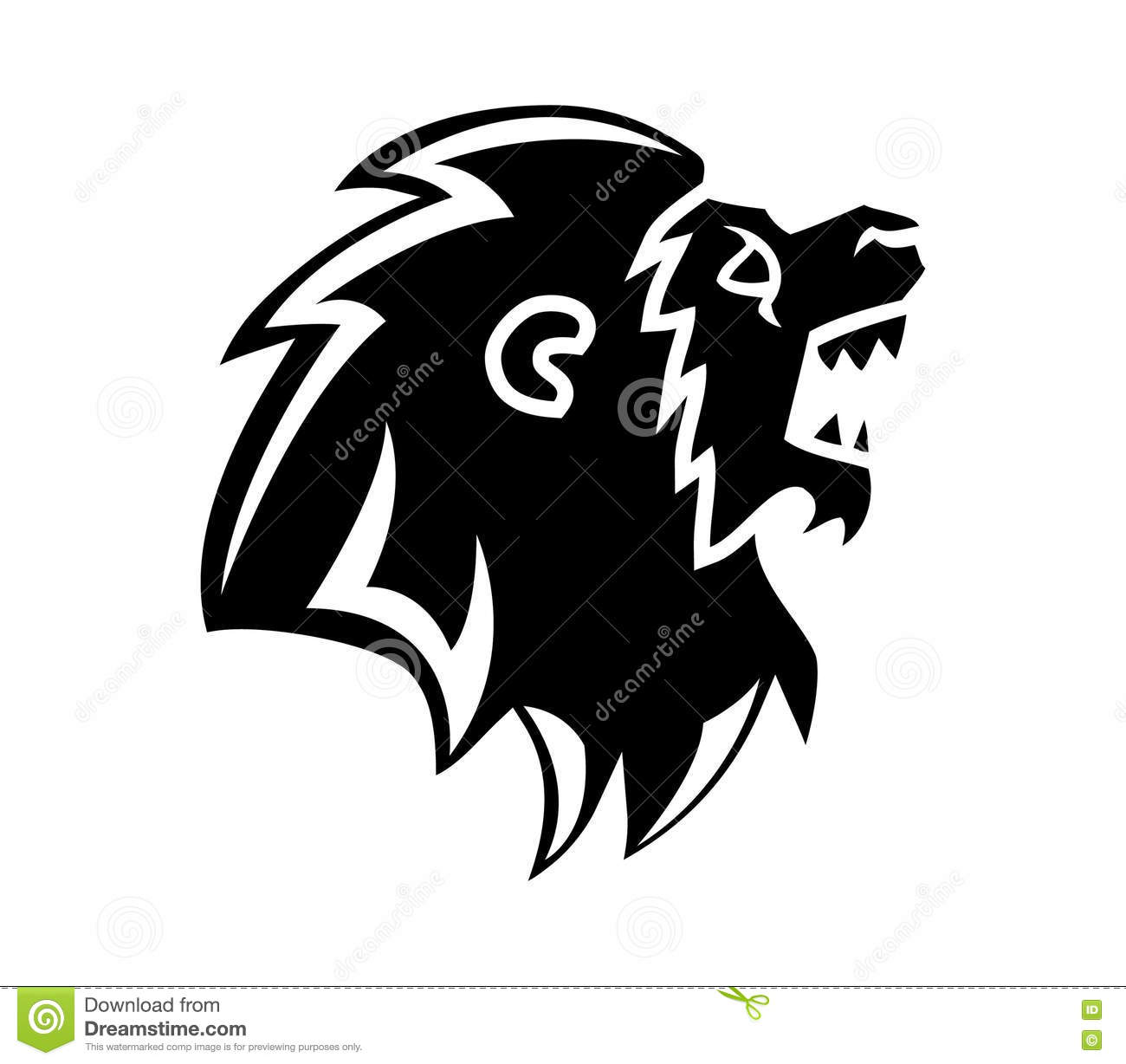 Roaring Lion Head Silhouette Stock Vector - Image: 74789326