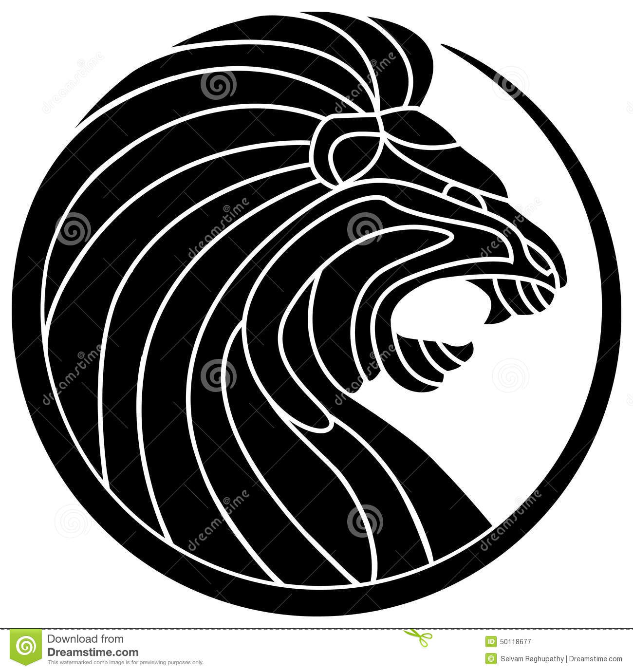 Line Drawing Logo : Roaring lion stock vector image