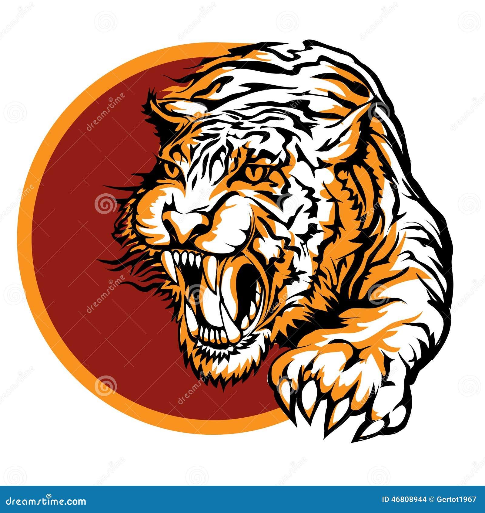 Roaring Tiger Logo Design Stock Vector - Image: 46808944