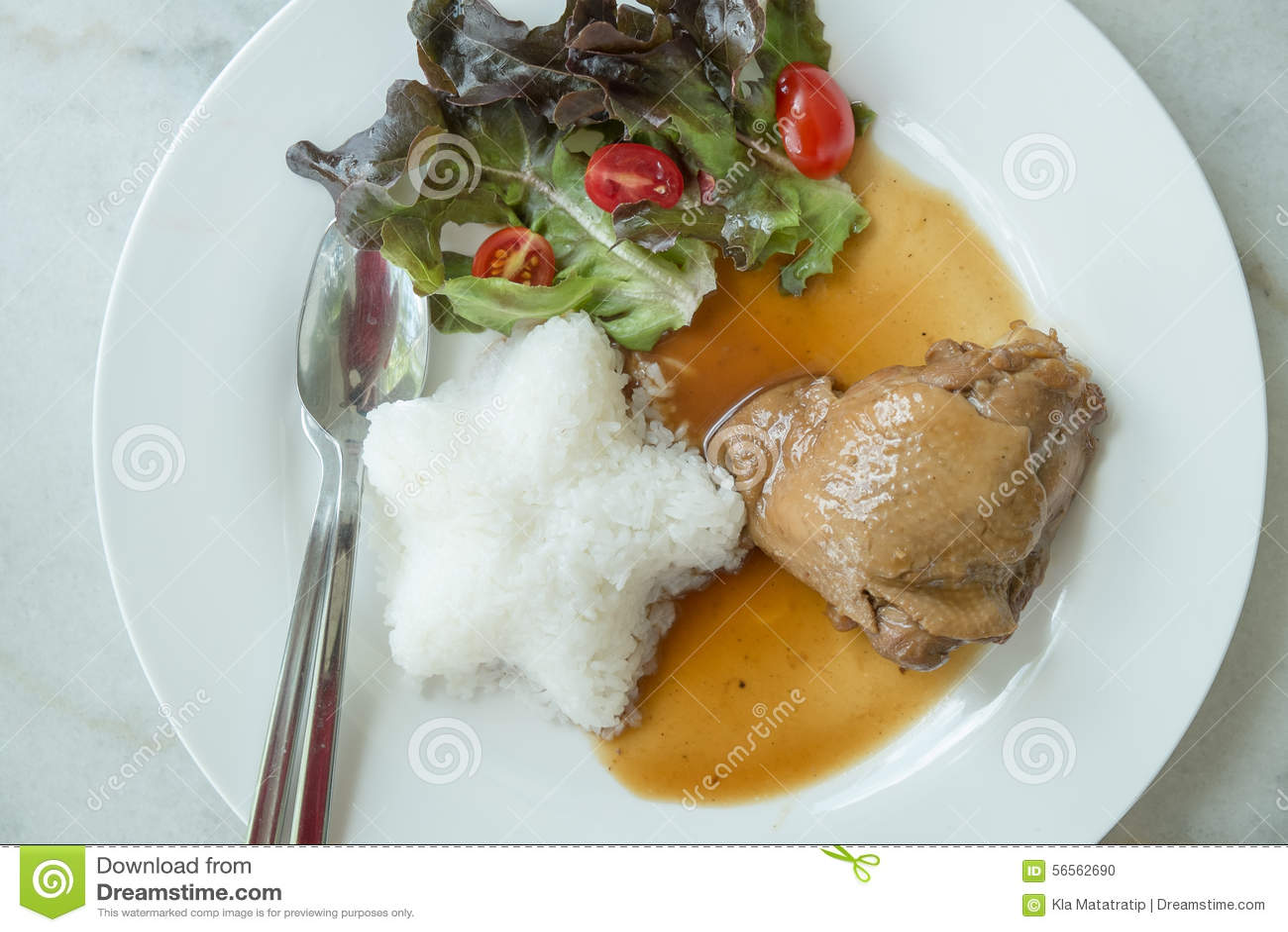 Download Roast κοτόπουλο με το ρύζι στοκ εικόνες. εικόνα από γεύμα - 56562690