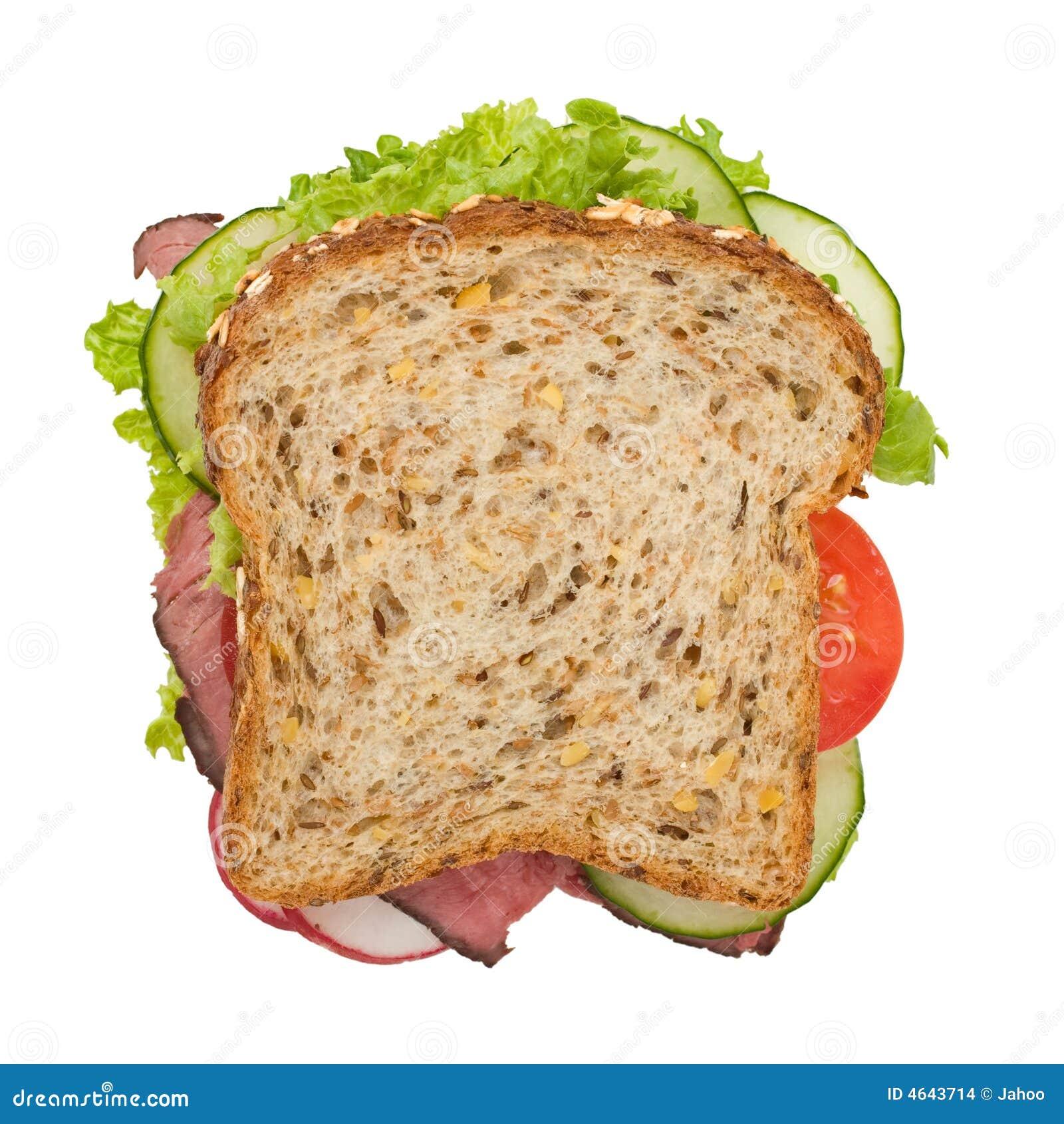 Roast beef sandwich top view
