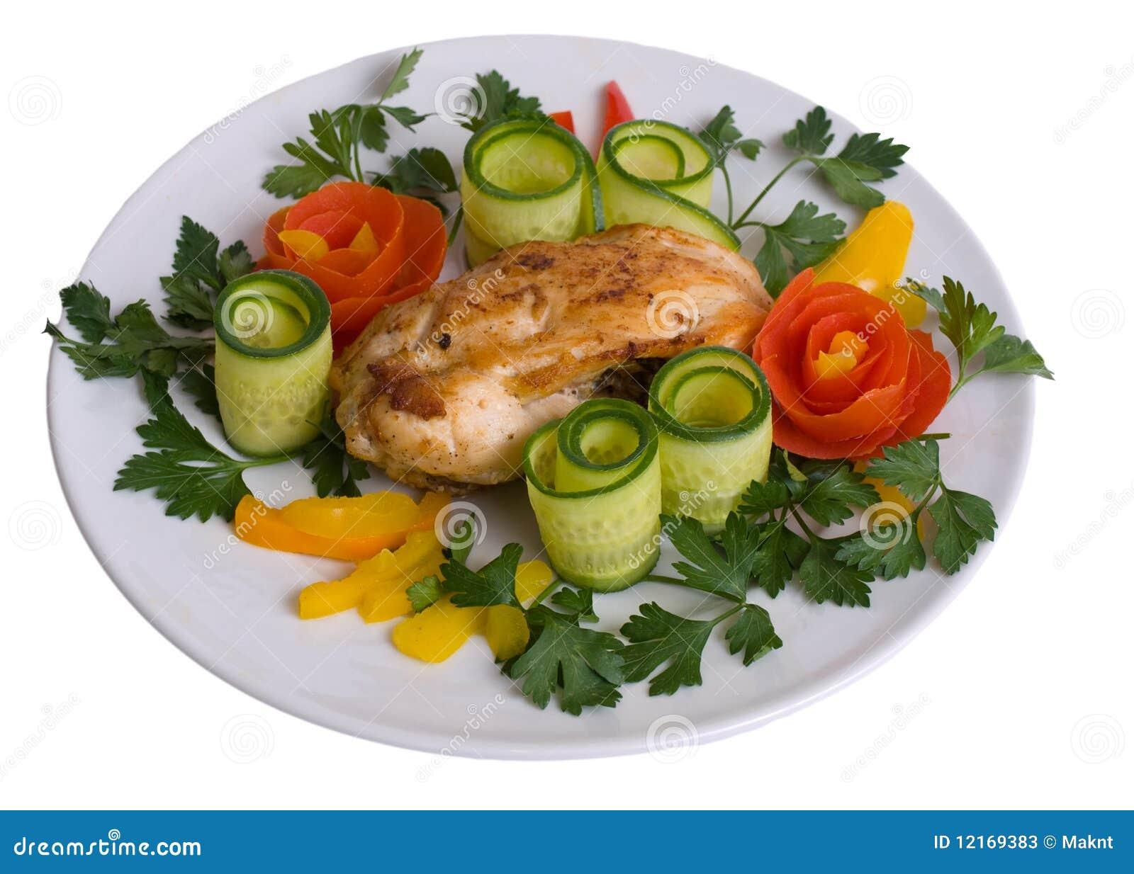 Roast chicken stock image. Image of plate, leaf ...