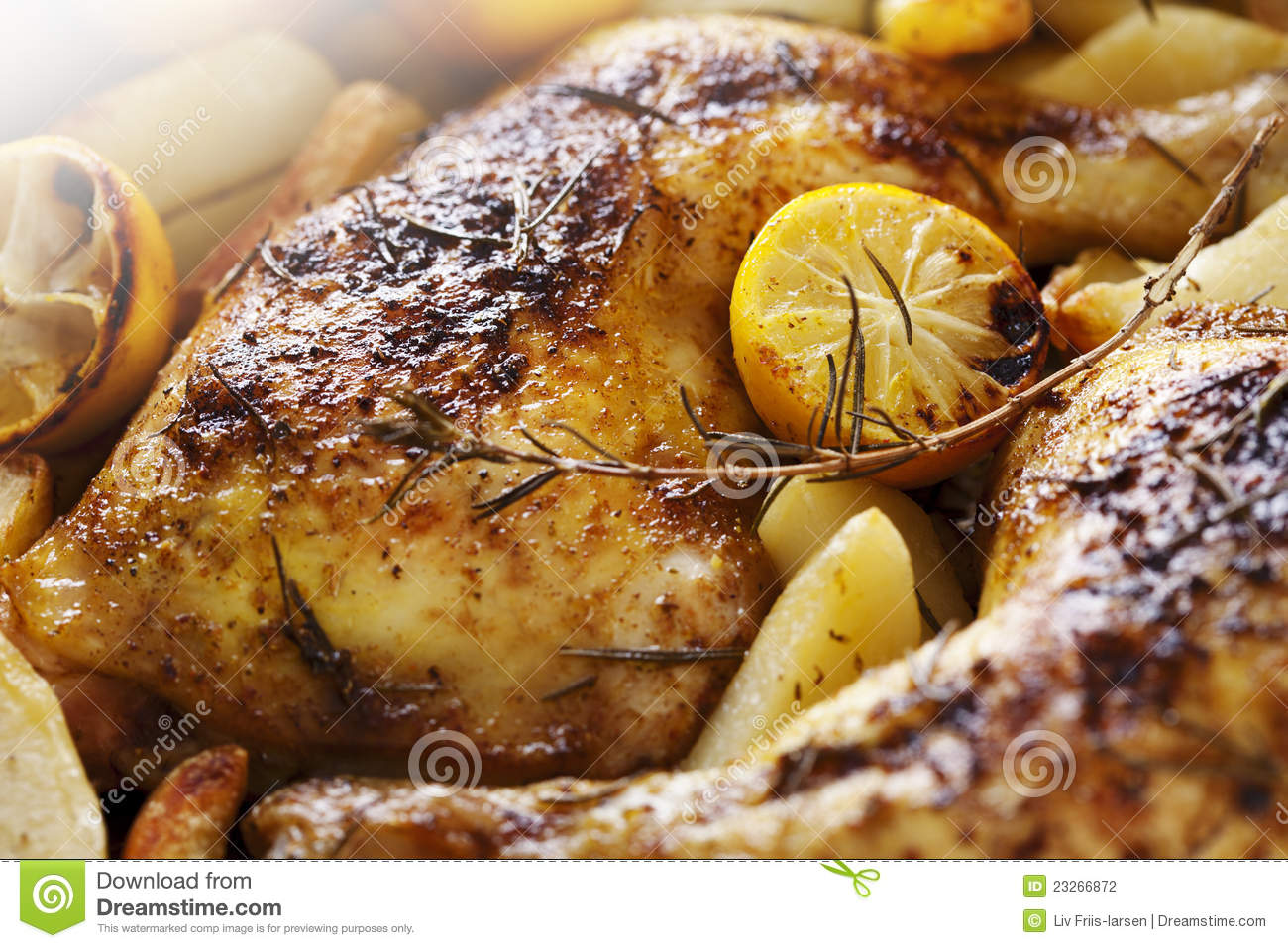 Roast chicken stock photo. Image of traditional, herbs ...