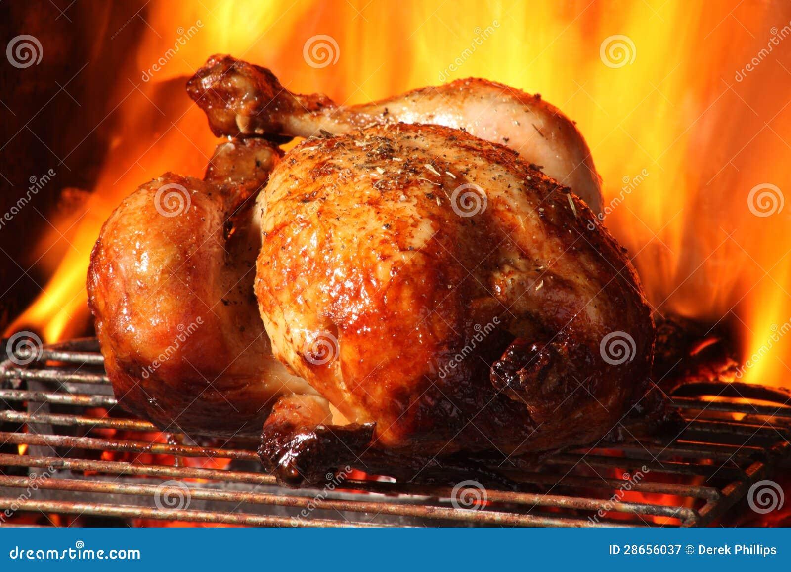 roast chicken being co...