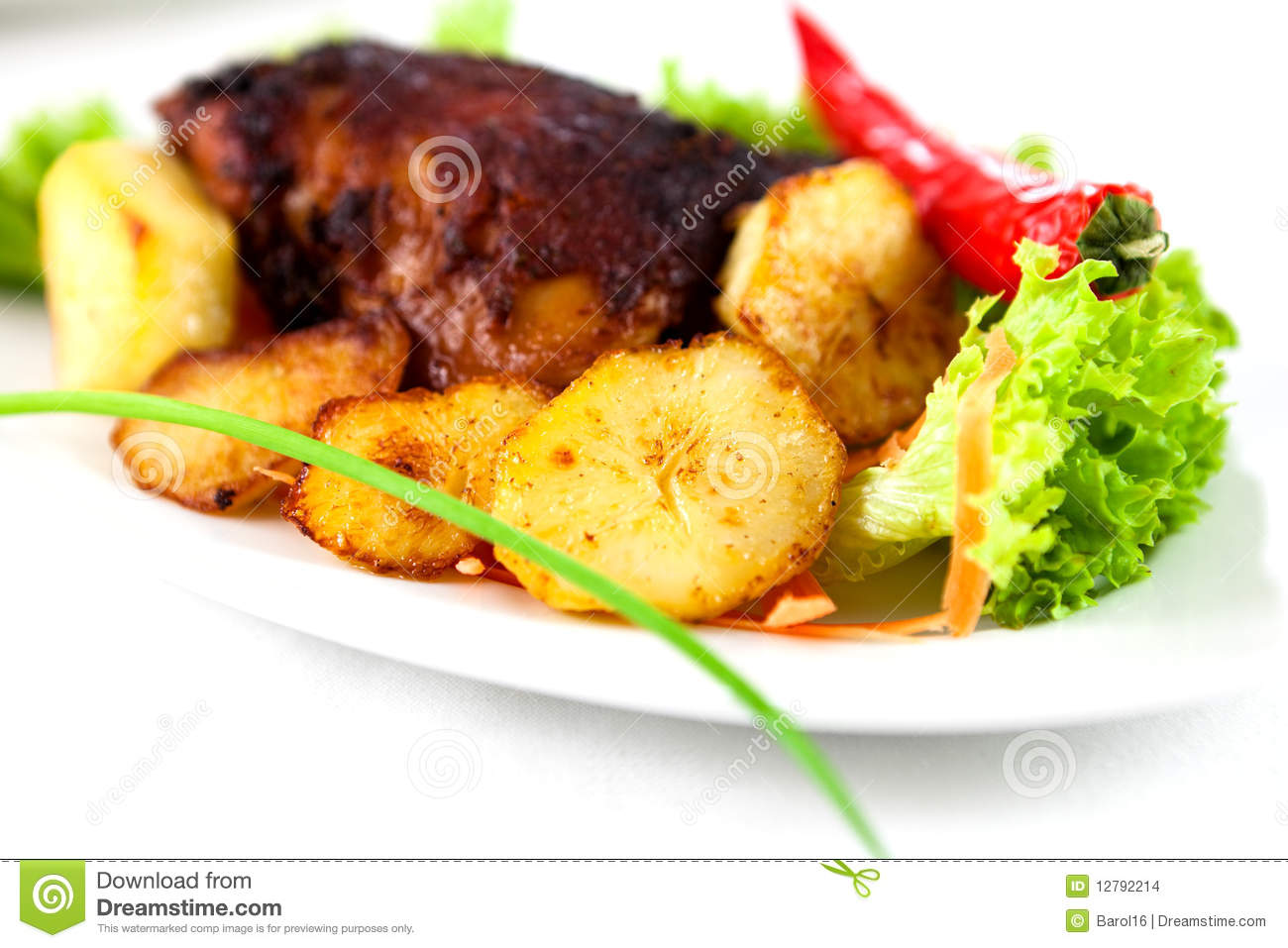 Roast Chicken With Baked Potatoes Stock Images - Image: 12792214