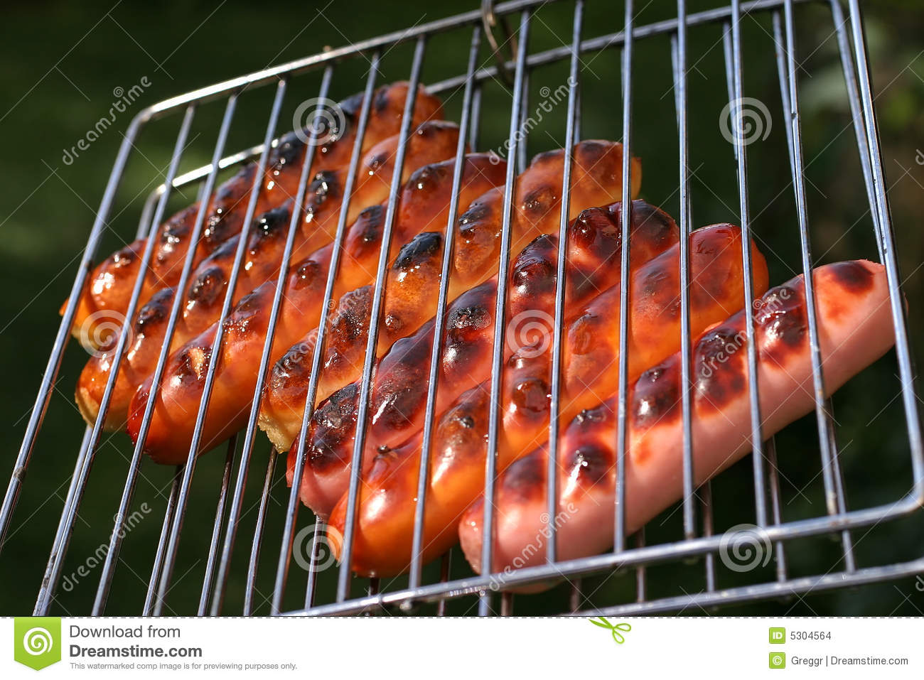 Roast Chicken And Beef Sausages On Grill Stock Images - Image: 5304564