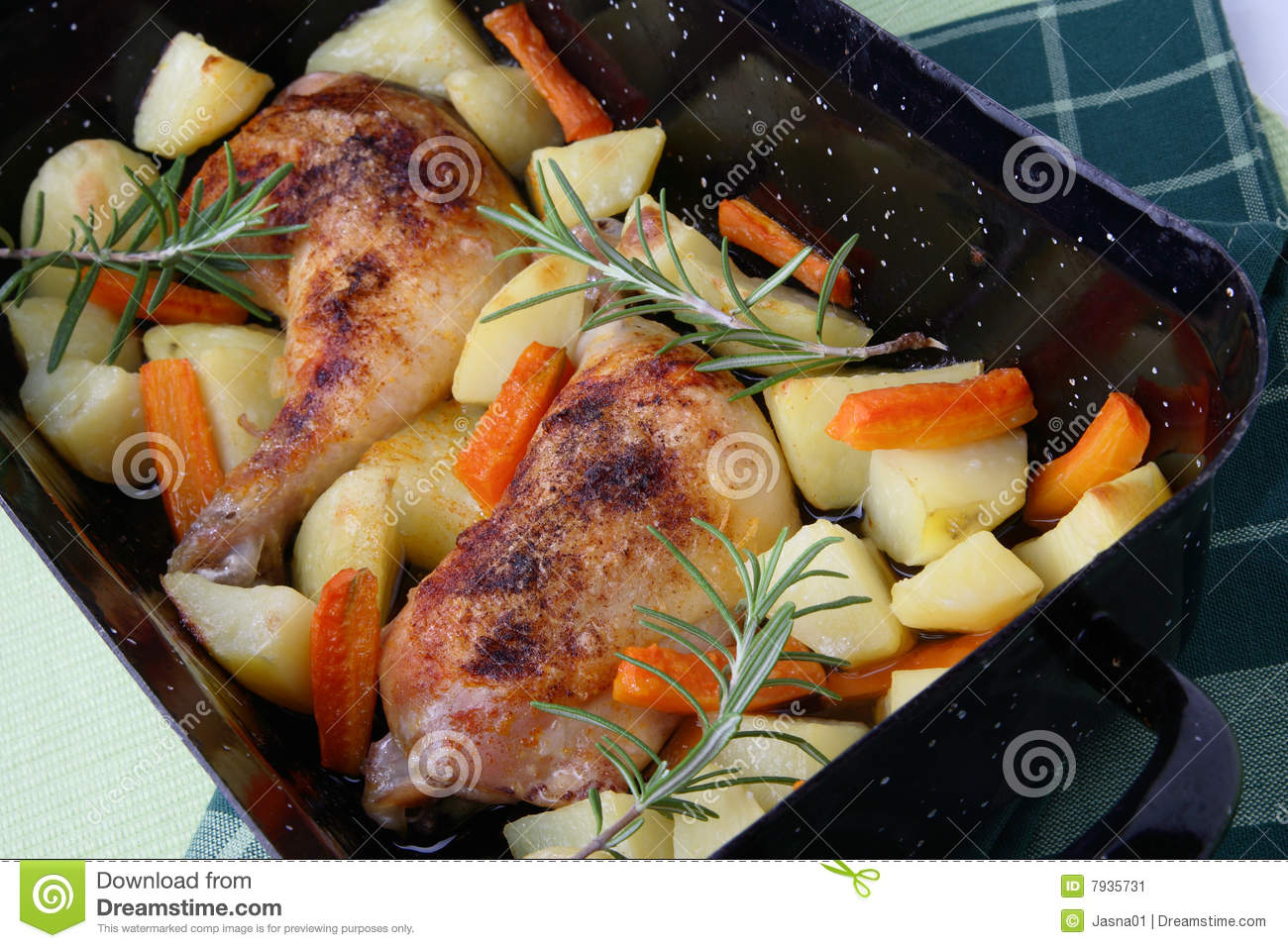 Roast Chicken Legs With Potatoes And Vegetable Stock Image Image