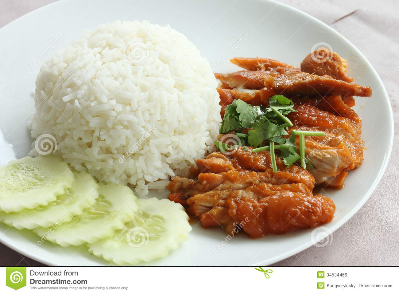 Roast Chicken with rice in Chinese Style.